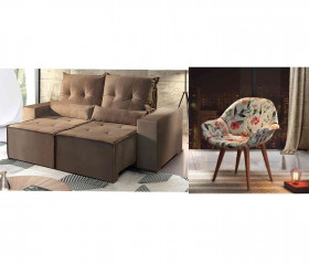 Sofa Retratil Reclinavel Belize Castor + 2 Poltronas Jade + 1 bandeja para sofa
