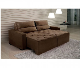 Sofa Retratil Reclinavel Stylos - Suede Marrom - ByMobille
